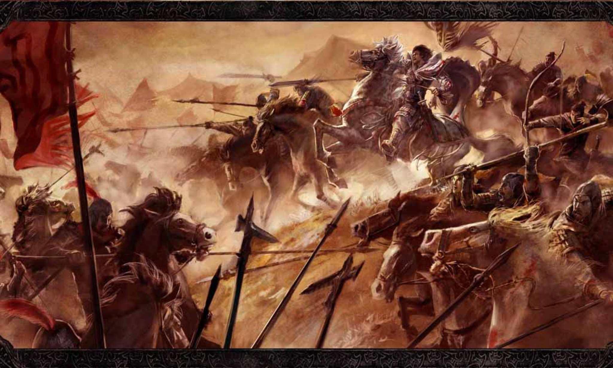 手绘古代战场士兵